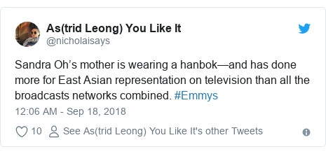 Twitter post by @nicholaisays: Sandra Oh's mother is wearing a hanbok—and has done more for East Asian representation on television than all the broadcasts networks combined. #Emmys