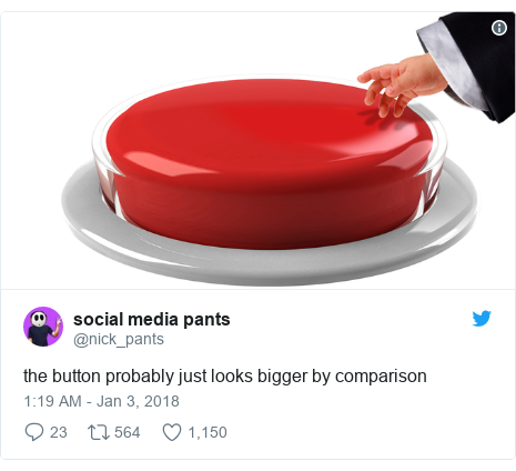 Twitter post by @nick_pants: the button probably just looks bigger by comparison