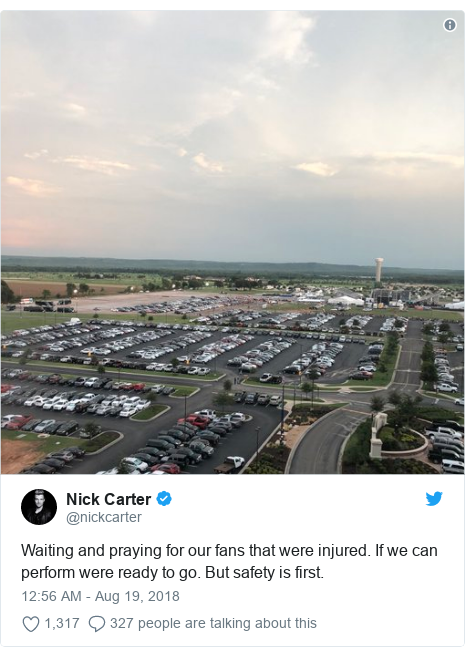 Twitter post by @nickcarter: Waiting and praying for our fans that were injured. If we can perform were ready to go. But safety is first.