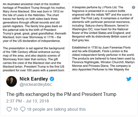 Twitter post by @nickeardleybbc: The gifts exchanged by the PM and President Trump