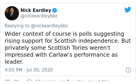 Twitter post by @nickeardleybbc: Wider context of course is polls suggesting rising support for Scottish independence. But privately some Scottish Tories weren't impressed with Carlaw's performance as leader.