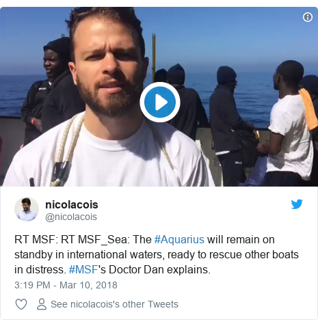 Twitter post by @nicolacois: RT MSF  RT MSF_Sea  The #Aquarius will remain on standby in international waters, ready to rescue other boats in distress. #MSF's Doctor Dan explains.