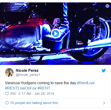 Twitter post by @nicole_perez1: Vanessa Hudgens coming to save the day #RentLive #RENTLiveOnFox #RENT