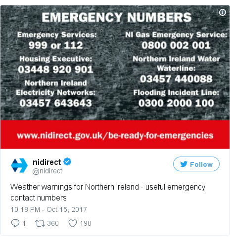 Twitter post by @nidirect: Weather warnings for Northern Ireland - useful emergency contact numbers