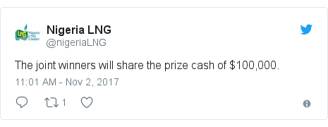 Twitter post by @nigeriaLNG: The joint winners will share the prize cash of $100,000.