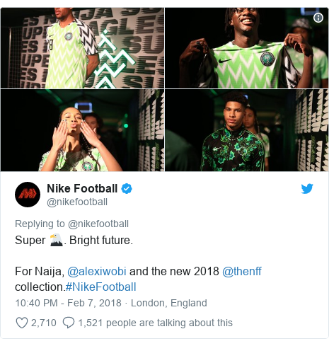 Twitter post by @nikefootball: Super 🦅. Bright future.For Naija, @alexiwobi and the new 2018 @thenff collection.#NikeFootball