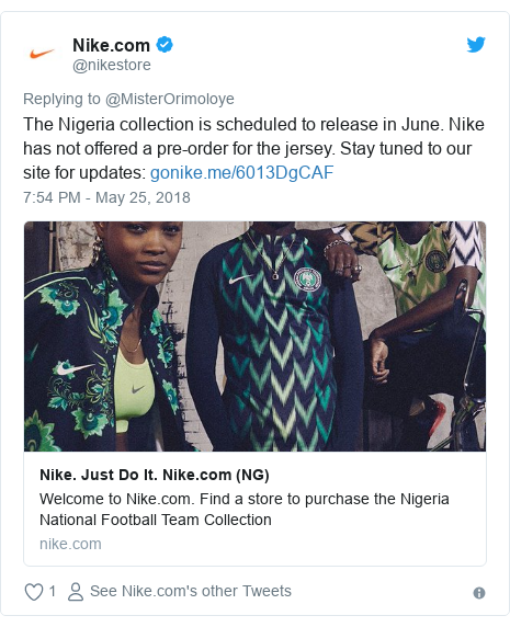 Twitter post by @nikestore: The Nigeria collection is scheduled to release in June. Nike has not offered a pre-order for the jersey. Stay tuned to our site for updates