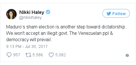 Twitter post by @nikkihaley