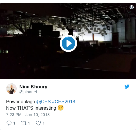 Twitter post by @ninanet: Power outage @CES #CES2018 Now THAT'S interesting 🤤