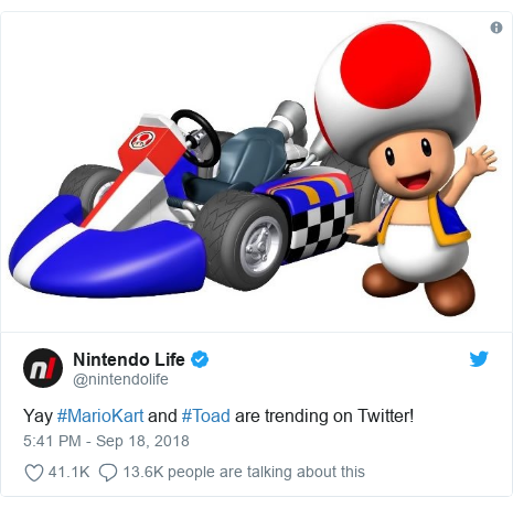 Twitter post by @nintendolife: Yay #MarioKart and #Toad are trending on Twitter!