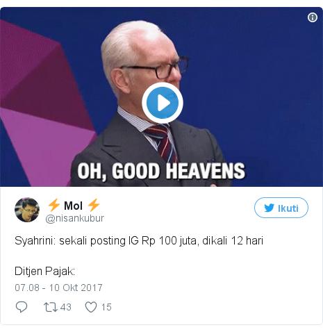 Twitter pesan oleh @nisankubur: Syahrini  sekali posting IG Rp 100 juta, dikali 12 hariDitjen Pajak  pic.twitter.com/BXyNATkT6n