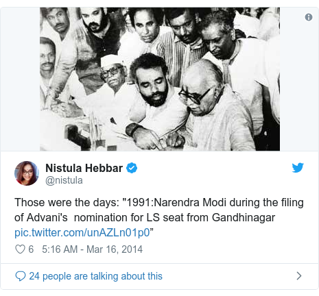 "Twitter post by @nistula: Those were the days  ""1991 Narendra Modi during the filing of Advani's  nomination for LS seat from Gandhinagar """