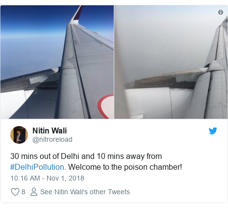 Twitter post by @nitroreload: 30 mins out of Delhi and 10 mins away from #DelhiPollution. Welcome to the poison chamber!