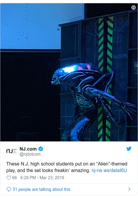 "Twitter post by @njdotcom: These N.J. high school students put on an ""Alien""-themed play, and the set looks freakin' amazing."