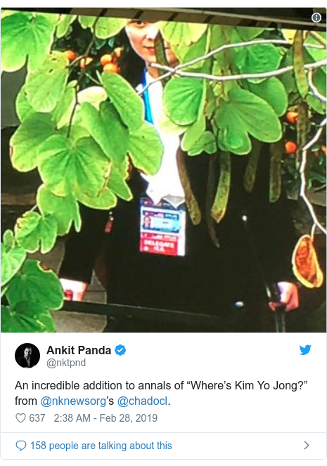 """Twitter post by @nktpnd: An incredible addition to annals of """"Where's Kim Yo Jong?"""" from @nknewsorg's @chadocl."""