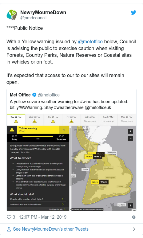Twitter post by @nmdcouncil: ****Public Notice With a Yellow warning issued by @metoffice below, Council is advising the public to exercise caution when visiting Forests, Country Parks, Nature Reserves or Coastal sites in vehicles or on foot.It's expected that access to our to our sites will remain open.