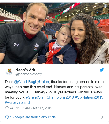 Twitter post by @noahsarkcharity: Dear @WelshRugbyUnion, thanks for being heroes in more ways than one this weekend. Harvey and his parents loved meeting you all.  Harvey - to us yesterday's win will always be for you x #GrandSlamChampions2019 #SixNations2019 #walesvireland