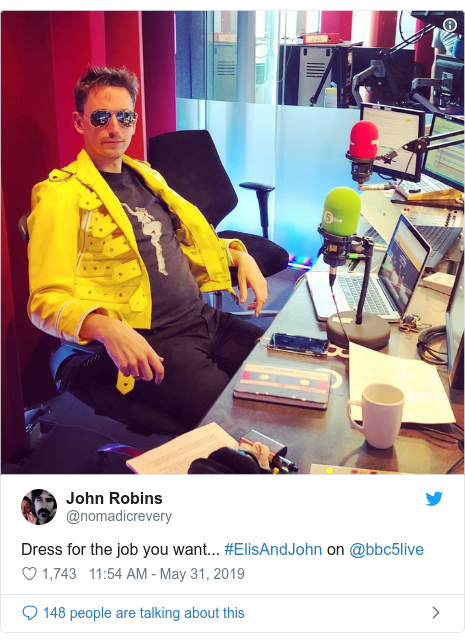 Twitter post by @nomadicrevery: Dress for the job you want... #ElisAndJohn on @bbc5live