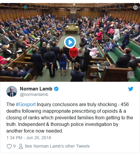 Twitter post by @normanlamb: The #Gosport Inquiry conclusions are truly shocking - 456 deaths following inappropriate prescribing of opioids & a closing of ranks which prevented families from getting to the truth. Independent & thorough police investigation by another force now needed.