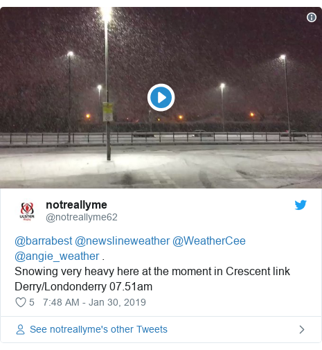 Twitter post by @notreallyme62: @barrabest @newslineweather @WeatherCee @angie_weather .Snowing very heavy here at the moment in Crescent link Derry/Londonderry 07.51am