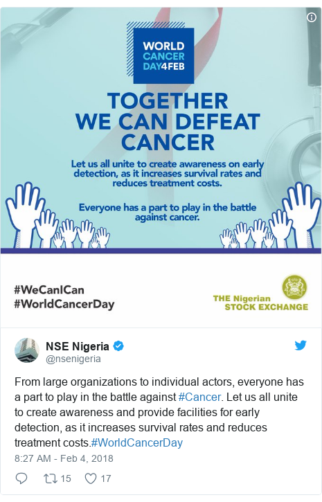 Twitter post by @nsenigeria: From large organizations to individual actors, everyone has a part to play in the battle against #Cancer. Let us all unite to create awareness and provide facilities for early detection, as it increases survival rates and reduces treatment costs.#WorldCancerDay