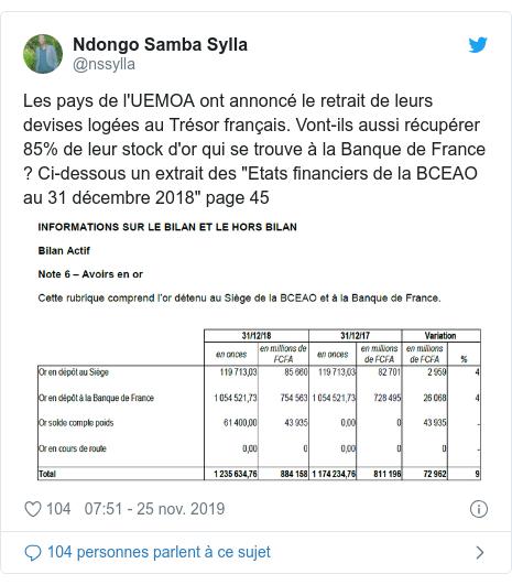 """Twitter publication par @nssylla: Les pays de l'UEMOA ont annoncé le retrait de leurs  devises logées au Trésor français. Vont-ils aussi récupérer 85% de leur stock d'or qui se trouve à la Banque de France ? Ci-dessous un extrait des """"Etats financiers de la BCEAO au 31 décembre 2018"""" page 45"""
