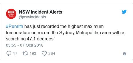 @nswincidents tarafından yapılan Twitter paylaşımı: #Penrith has just recorded the highest maximum temperature on record the Sydney Metropolitan area with a scorching 47.1 degrees!