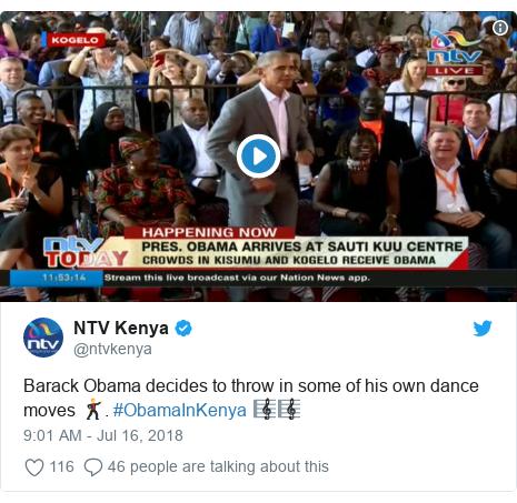 Twitter wallafa daga @ntvkenya: Barack Obama decides to throw in some of his own dance moves 🕺. #ObamaInKenya 🎼🎼