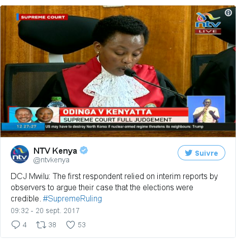 Twitter publication par @ntvkenya: DCJ Mwilu  The first respondent relied on interim reports by observers to argue their case that the elections were credible. #SupremeRuling pic.twitter.com/LX37M57xNU
