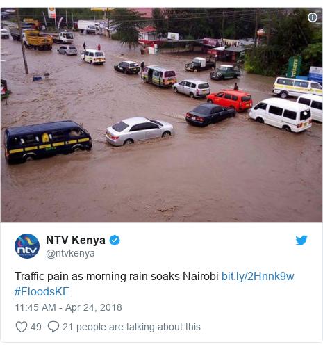 Ujumbe wa Twitter wa @ntvkenya: Traffic pain as morning rain soaks Nairobi  #FloodsKE