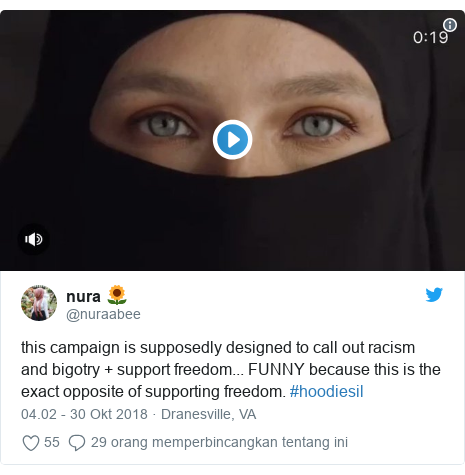 Twitter pesan oleh @nuraabee: this campaign is supposedly designed to call out racism and bigotry + support freedom... FUNNY because this is the exact opposite of supporting freedom. #hoodiesil