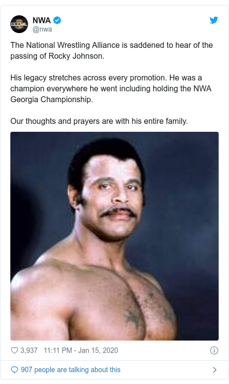 Twitter post by @nwa: The National Wrestling Alliance is saddened to hear of the passing of Rocky Johnson. His legacy stretches across every promotion. He was a champion everywhere he went including holding the NWA Georgia Championship.  Our thoughts and prayers are with his entire family.