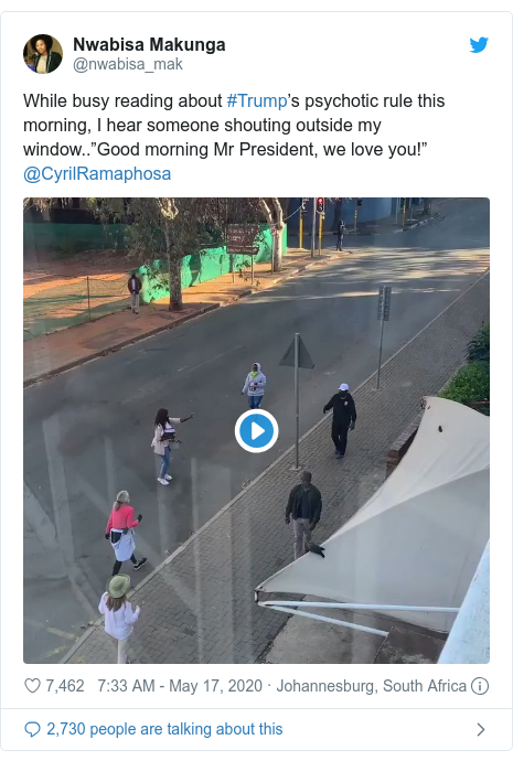 """Twitter post by @nwabisa_mak: While busy reading about #Trump's psychotic rule this morning, I hear someone shouting outside my window..""""Good morning Mr President, we love you!"""" @CyrilRamaphosa"""