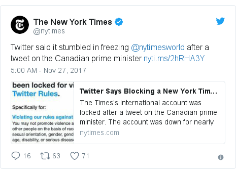 Twitter post by @nytimes: Twitter said it stumbled in freezing @nytimesworld after a tweet on the Canadian prime minister