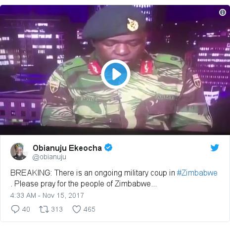 د @obianuju په مټ ټویټر  تبصره : BREAKING  There is an ongoing military coup in #Zimbabwe . Please pray for the people of Zimbabwe...