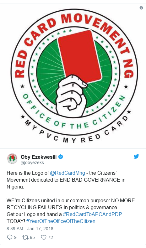 Twitter post by @obyezeks: Here is the Logo of @RedCardMng - the Citizens' Movement dedicated to END BAD GOVERNANCE in Nigeria.WE're Citizens united in our common purpose  NO MORE RECYCLING FAILURES in politics & governance.Get our Logo and hand a #RedCardToAPCAndPDP TODAY! #YearOfTheOfficeOfTheCitizen