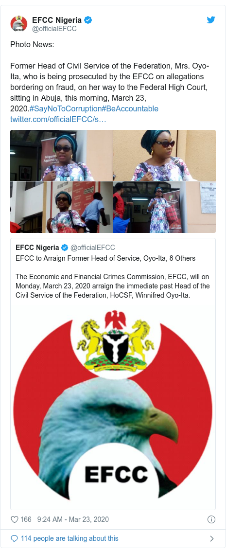 Twitter post by @officialEFCC: Photo News Former Head of Civil Service of the Federation, Mrs. Oyo-Ita, who is being prosecuted by the EFCC on allegations bordering on fraud, on her way to the Federal High Court, sitting in Abuja, this morning, March 23, 2020.#SayNoToCorruption#BeAccountable