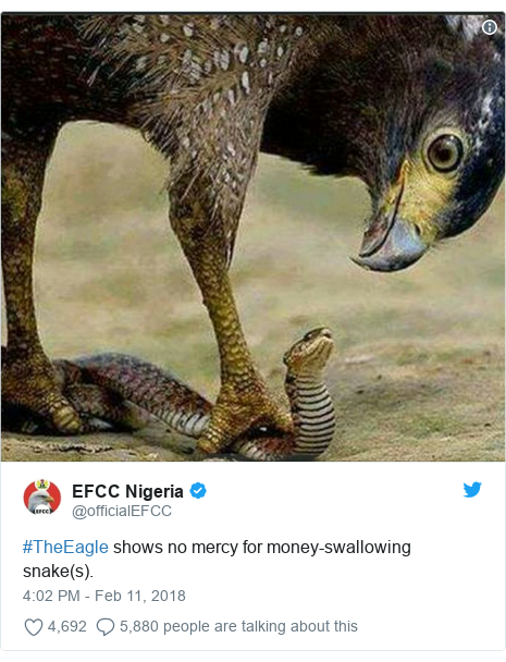 Twitter post by @officialEFCC: #TheEagle shows no mercy for money-swallowing snake(s).