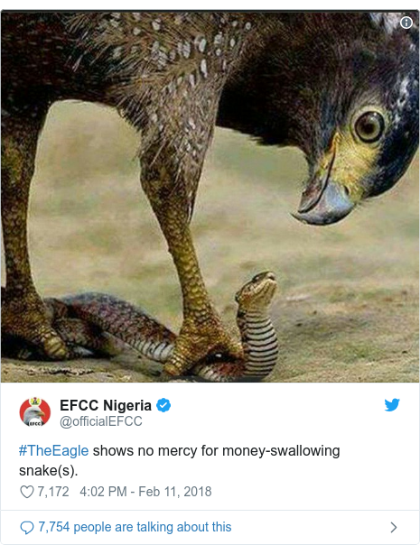 Ujumbe wa Twitter wa @officialEFCC: #TheEagle shows no mercy for money-swallowing snake(s).