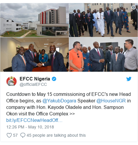Twitter post by @officialEFCC: Countdown to May 15 commissioning of EFCC's new Head Office begins, as @YakubDogara Speaker @HouseNGR in company with Hon. Kayode Oladele and Hon. Sampson Okon visit the Office Complex >>