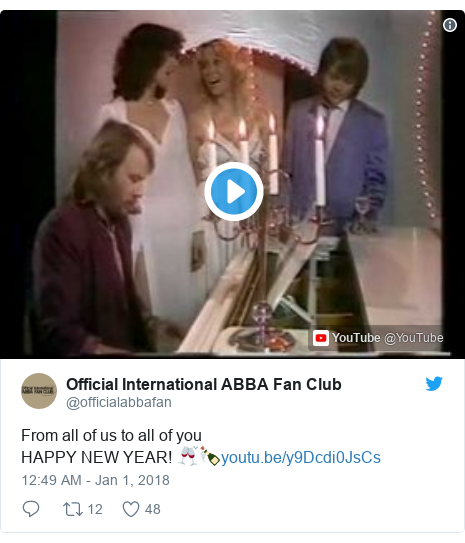 Twitter post by @officialabbafan: From all of us to all of youHAPPY NEW YEAR! 🥂🍾