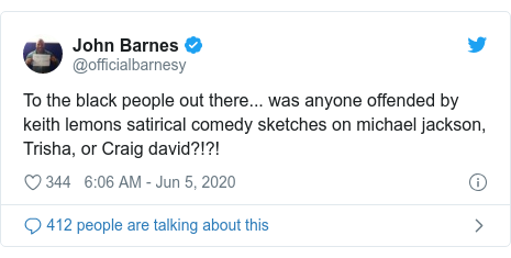 Twitter post by @officialbarnesy: To the black people out there... was anyone offended by keith lemons satirical comedy sketches on michael jackson, Trisha, or Craig david?!?!