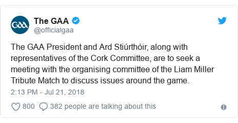 Twitter post by @officialgaa: The GAA President and Ard Stiúrthóir, along with representatives of the Cork Committee, are to seek a meeting with the organising committee of the Liam Miller Tribute Match to discuss issues around the game.