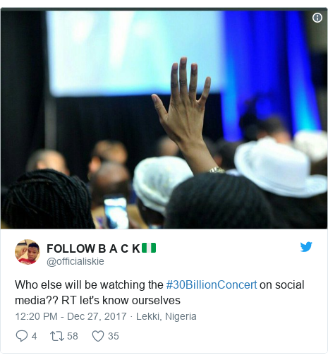 Twitter post by @officialiskie: Who else will be watching the #30BillionConcert on social media?? RT let's know ourselves