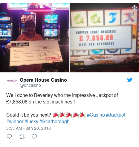 Twitter post by @ohcasino: Well done to Beverley who the Impressive Jackpot of £7,858.08 on the slot machines!!Could it be you next? 🎉🎉🎉🎉🎉 #Casino #Jackpot #winner #lucky #Scarborough