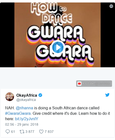 Twitter publication par @okayafrica: NAH. @rihanna is doing a South African dance called #GwaraGwara. Give credit where it's due. Learn how to do it here