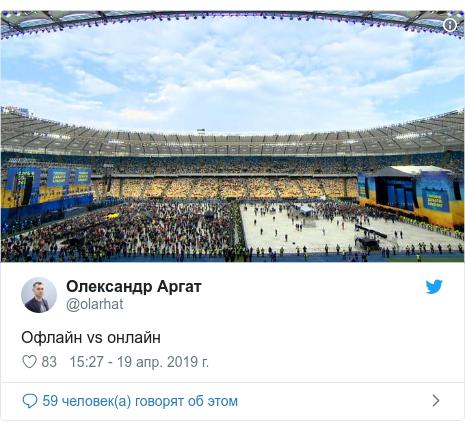 Twitter пост, автор: @olarhat: Офлайн vs онлайн