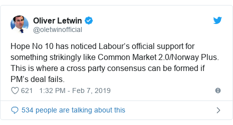 Twitter post by @oletwinofficial: Hope No 10 has noticed Labour's official support for something strikingly like Common Market 2.0/Norway Plus. This is where a cross party consensus can be formed if PM's deal fails.