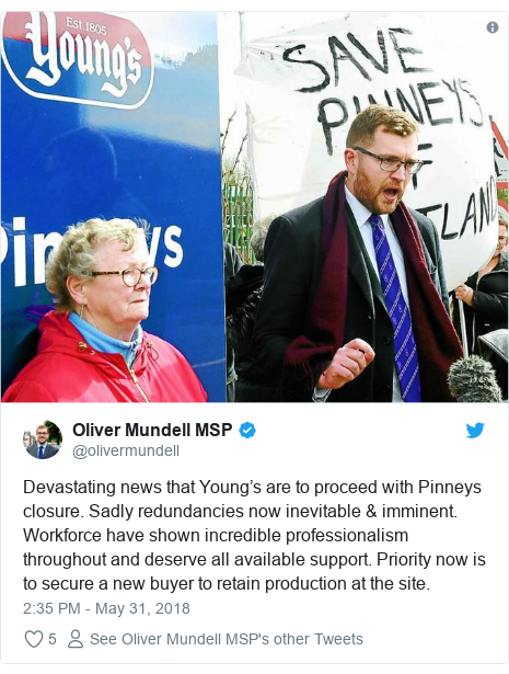 Twitter post by @olivermundell: Devastating news that Young's are to proceed with Pinneys closure. Sadly redundancies now inevitable & imminent. Workforce have shown incredible professionalism throughout and deserve all available support. Priority now is to secure a new buyer to retain production at the site.