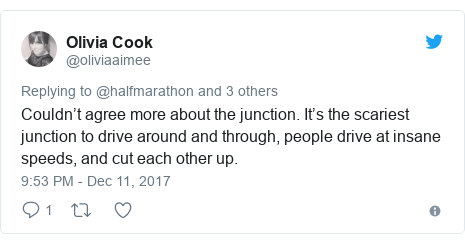 Twitter post by @oliviaaimee: Couldn't agree more about the junction. It's the scariest junction to drive around and through, people drive at insane speeds, and cut each other up.